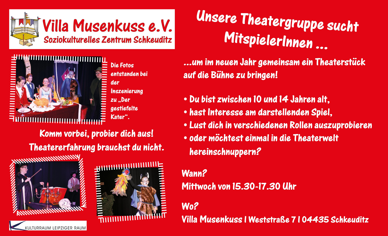 Plakat MitspielerInnen für die junge Theatergruppe gesucht